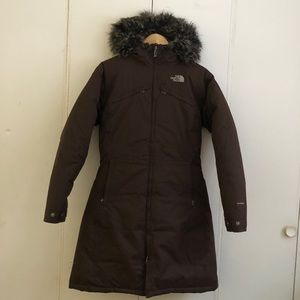 The North Face goose down hooded parka coat